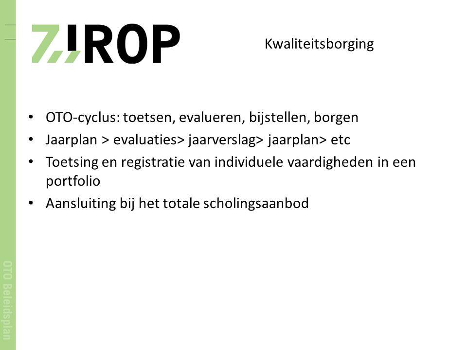 Kwaliteitsborging OTO-cyclus: toetsen, evalueren, bijstellen, borgen Jaarplan > evaluaties> jaarverslag> jaarplan> etc Toetsing en registratie van ind