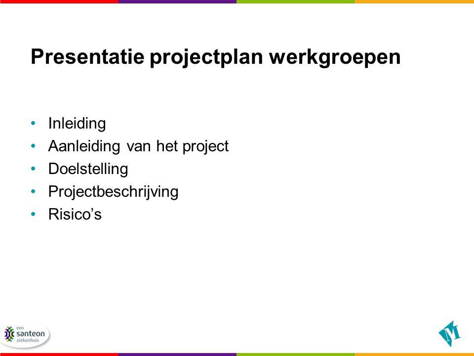 Presentatie projectplan werkgroepen Inleiding Aanleiding van het project Doelstelling Projectbeschrijving Risico's