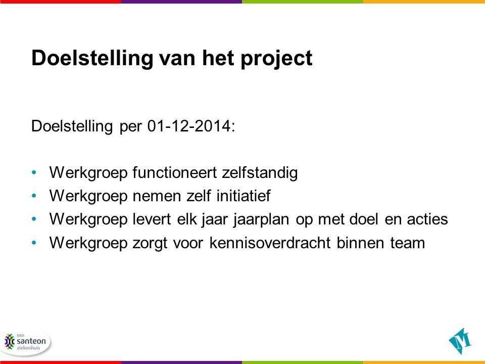 Doelstelling van het project Doelstelling per 01-12-2014: Werkgroep functioneert zelfstandig Werkgroep nemen zelf initiatief Werkgroep levert elk jaar jaarplan op met doel en acties Werkgroep zorgt voor kennisoverdracht binnen team
