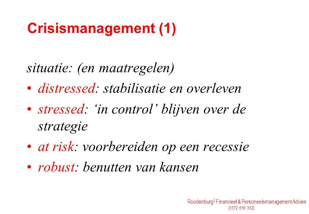 Roodenburg 2 Financieel & Personeelsmanagement Advies (0172 619 312) Crisismanagement (1) situatie: (en maatregelen) distressed: stabilisatie en overl