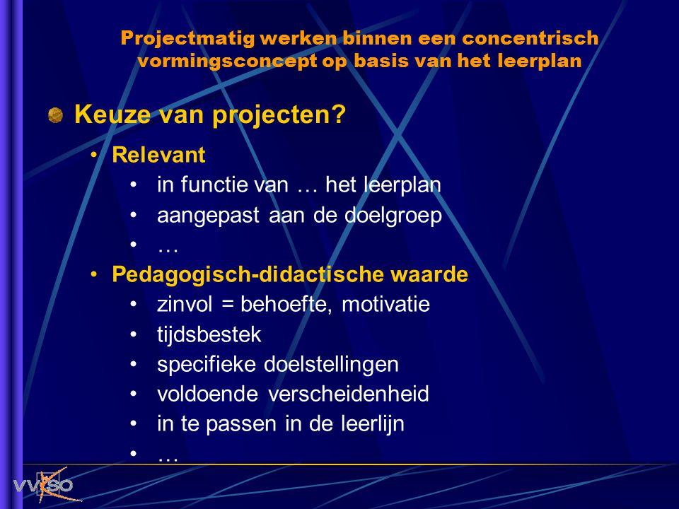 Keuze van projecten? Relevant in functie van … het leerplan aangepast aan de doelgroep … Pedagogisch-didactische waarde zinvol = behoefte, motivatie t