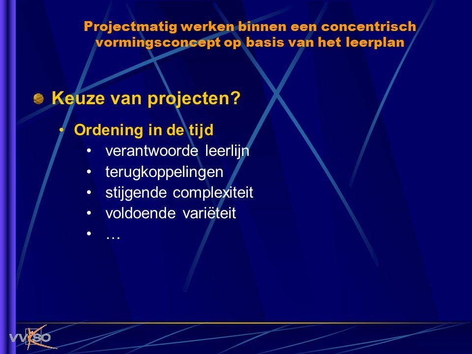 Keuze van projecten? Ordening in de tijd verantwoorde leerlijn terugkoppelingen stijgende complexiteit voldoende variëteit … Projectmatig werken binne