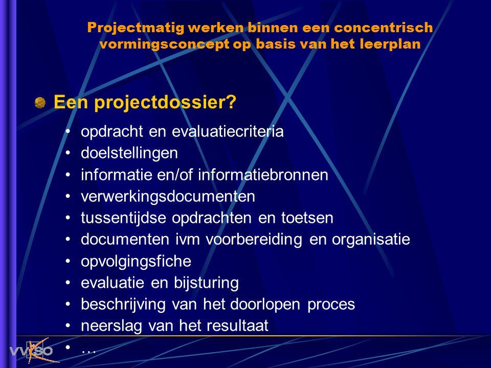 Een projectdossier? opdracht en evaluatiecriteria doelstellingen informatie en/of informatiebronnen verwerkingsdocumenten tussentijdse opdrachten en t