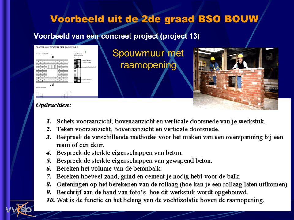 Voorbeeld uit de 2de graad BSO BOUW Voorbeeld van een concreet project (project 13) Spouwmuur met raamopening