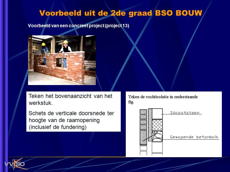 Voorbeeld uit de 2de graad BSO BOUW Voorbeeld van een concreet project (project 13) Teken het bovenaanzicht van het werkstuk. Schets de verticale door