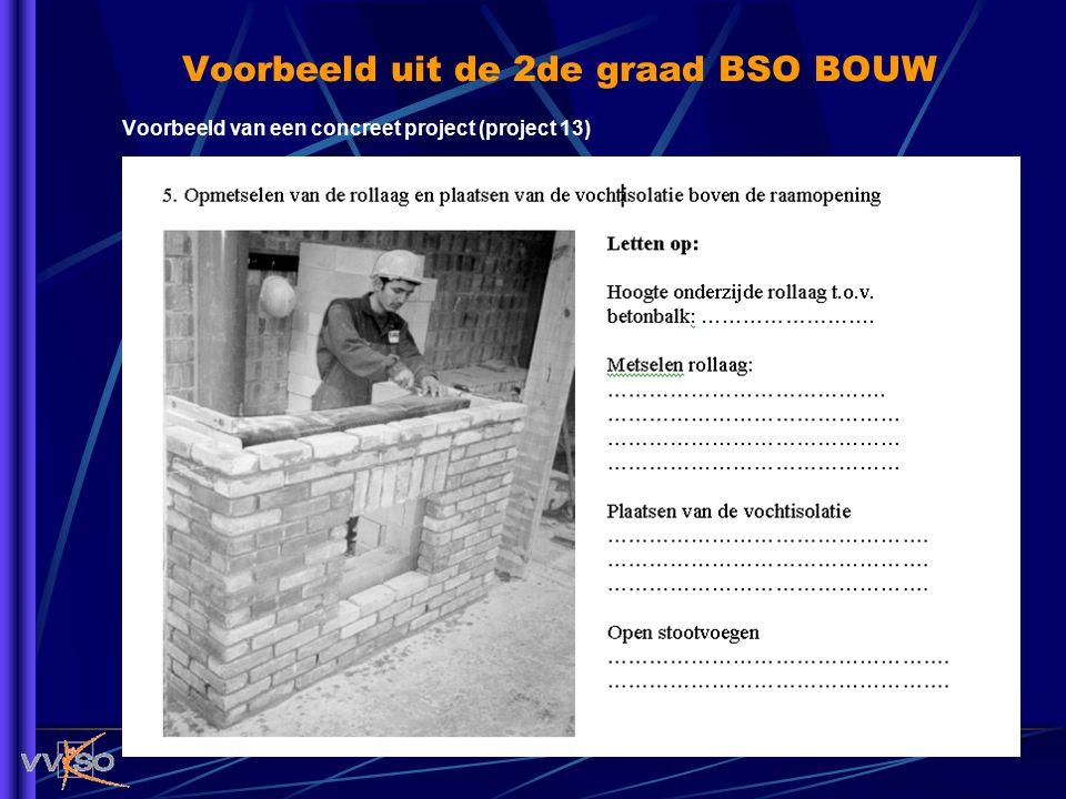 Voorbeeld uit de 2de graad BSO BOUW Voorbeeld van een concreet project (project 13)