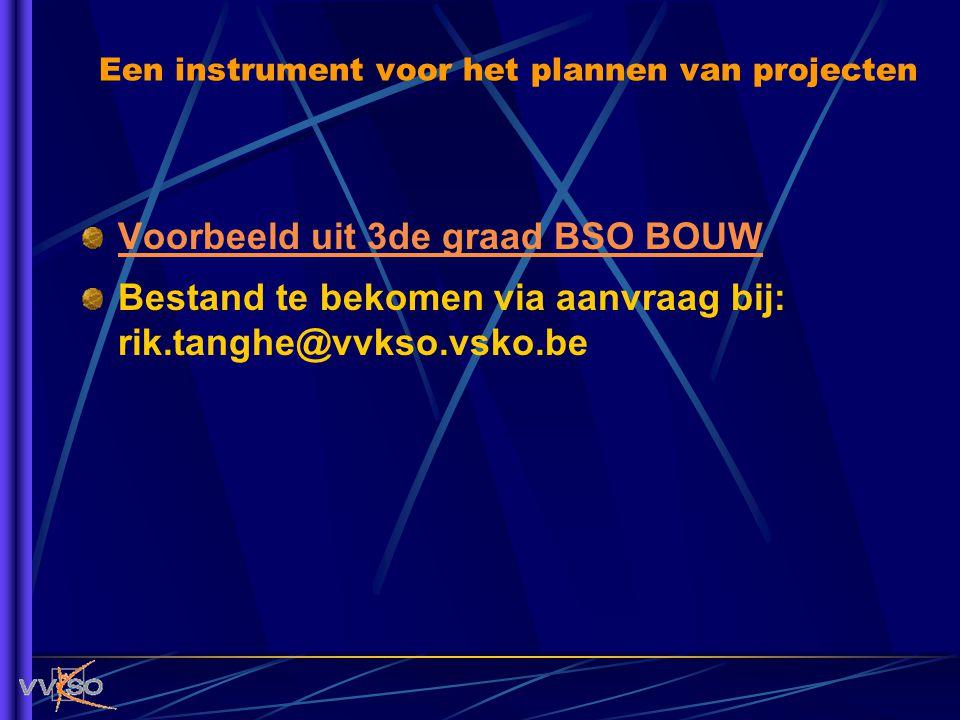 Een instrument voor het plannen van projecten Voorbeeld uit 3de graad BSO BOUW Bestand te bekomen via aanvraag bij: rik.tanghe@vvkso.vsko.be