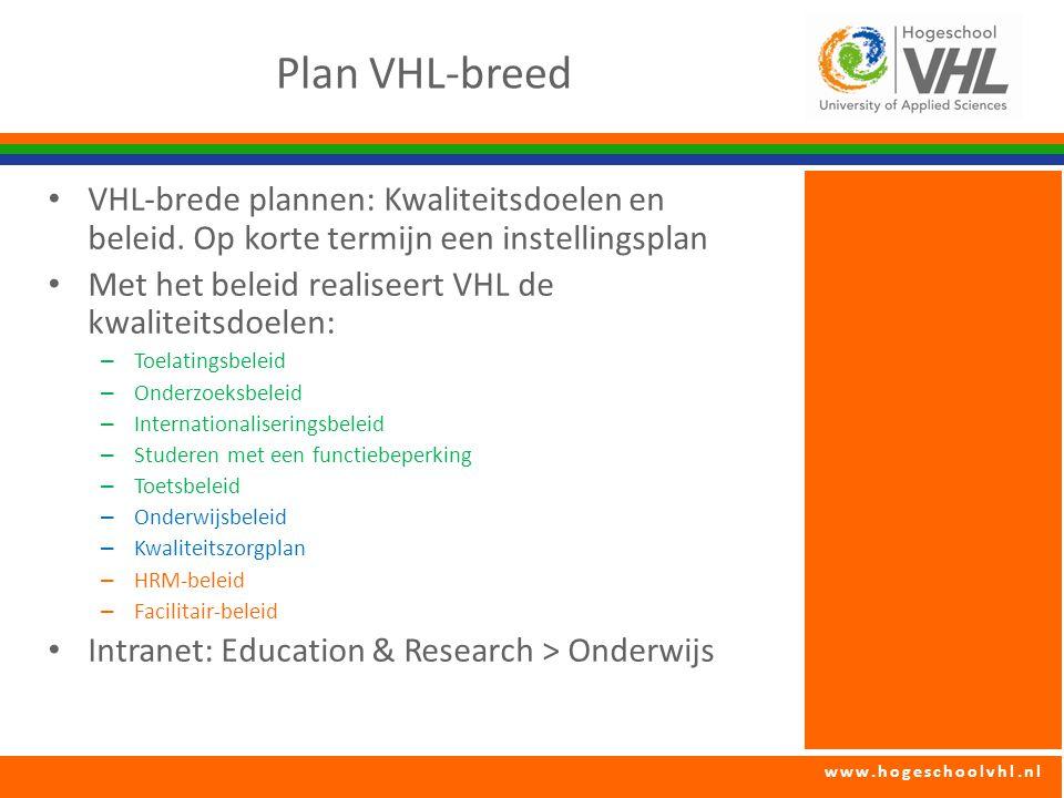 www.hogeschoolvhl.nl Plan VHL-breed VHL-brede plannen: Kwaliteitsdoelen en beleid. Op korte termijn een instellingsplan Met het beleid realiseert VHL