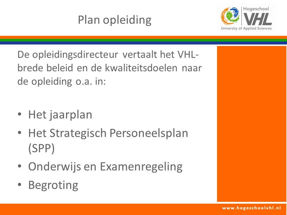 www.hogeschoolvhl.nl Plan opleiding De opleidingsdirecteur vertaalt het VHL- brede beleid en de kwaliteitsdoelen naar de opleiding o.a.