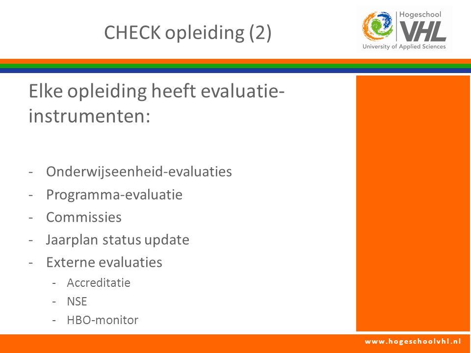 www.hogeschoolvhl.nl CHECK opleiding (2) Elke opleiding heeft evaluatie- instrumenten: -Onderwijseenheid-evaluaties -Programma-evaluatie -Commissies -