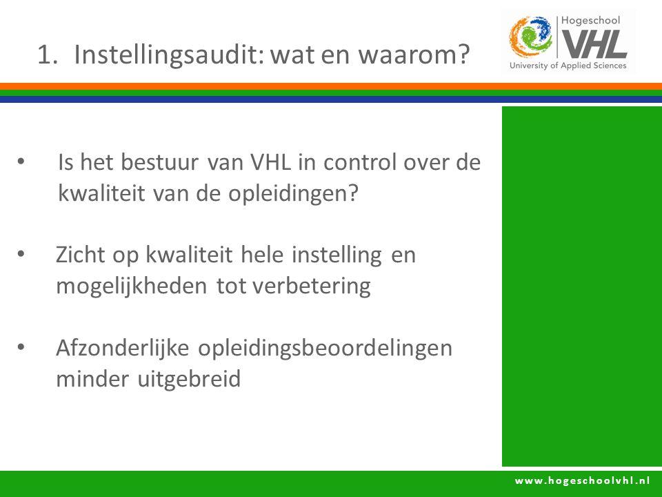 www.hogeschoolvhl.nl 1.Instellingsaudit: wat en waarom? Is het bestuur van VHL in control over de kwaliteit van de opleidingen? Zicht op kwaliteit hel