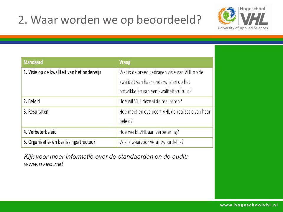 www.hogeschoolvhl.nl 2. Waar worden we op beoordeeld? Kijk voor meer informatie over de standaarden en de audit: www.nvao.net