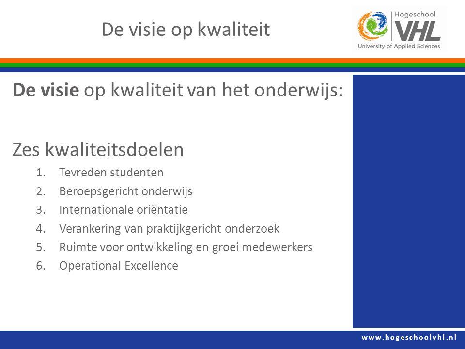 www.hogeschoolvhl.nl De visie op kwaliteit De visie op kwaliteit van het onderwijs: Zes kwaliteitsdoelen 1.Tevreden studenten 2.Beroepsgericht onderwi