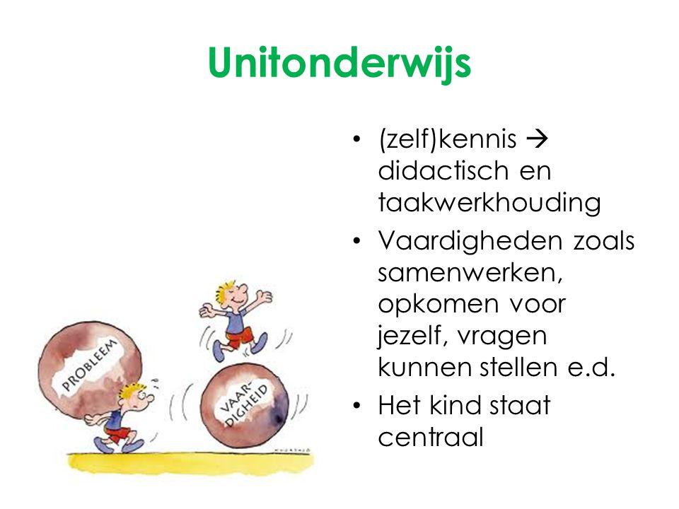 Unitonderwijs (zelf)kennis  didactisch en taakwerkhouding Vaardigheden zoals samenwerken, opkomen voor jezelf, vragen kunnen stellen e.d. Het kind st