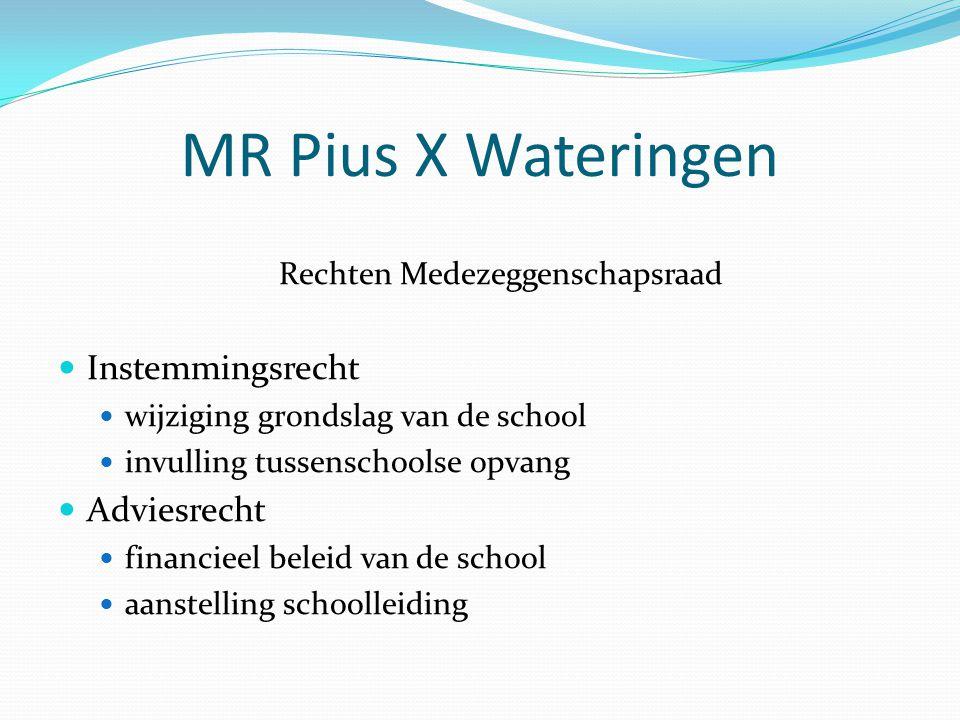 MR Pius X Wateringen Rechten Medezeggenschapsraad Instemmingsrecht wijziging grondslag van de school invulling tussenschoolse opvang Adviesrecht financieel beleid van de school aanstelling schoolleiding