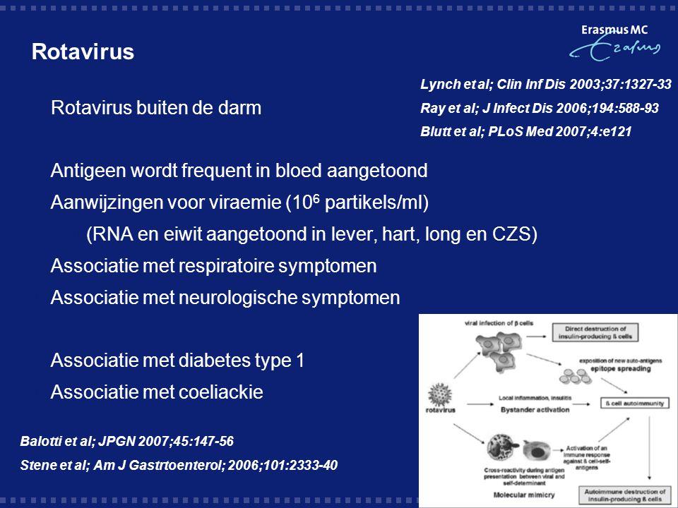 Rotavirus  Rotavirus buiten de darm  Antigeen wordt frequent in bloed aangetoond  Aanwijzingen voor viraemie (10 6 partikels/ml)  (RNA en eiwit aangetoond in lever, hart, long en CZS) Associatie met respiratoire symptomen  Associatie met neurologische symptomen  Associatie met diabetes type 1  Associatie met coeliackie Lynch et al; Clin Inf Dis 2003;37:1327-33 Ray et al; J Infect Dis 2006;194:588-93 Blutt et al; PLoS Med 2007;4:e121 Balotti et al; JPGN 2007;45:147-56 Stene et al; Am J Gastrtoenterol; 2006;101:2333-40