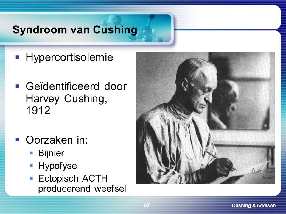 Cushing & Addison 10 Syndroom van Cushing  Hypercortisolemie  Geïdentificeerd door Harvey Cushing, 1912  Oorzaken in:  Bijnier  Hypofyse  Ectopi
