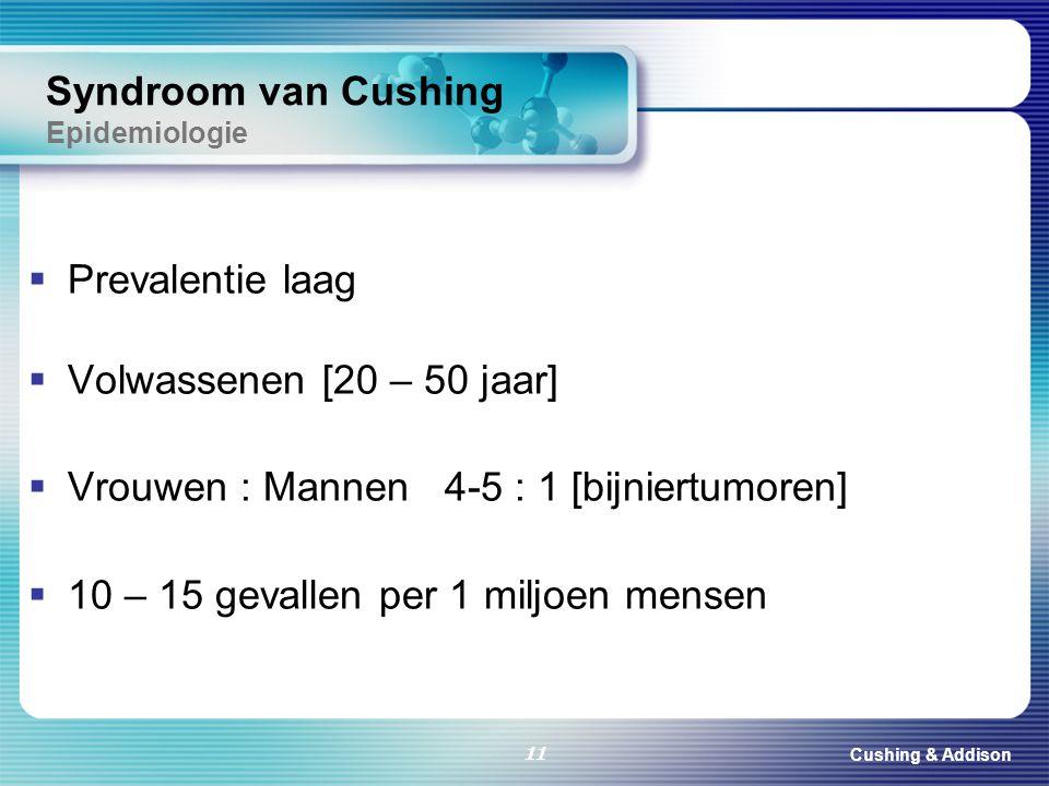 Cushing & Addison 11 Syndroom van Cushing Epidemiologie  Prevalentie laag  Volwassenen [20 – 50 jaar]  Vrouwen : Mannen 4-5 : 1 [bijniertumoren] 