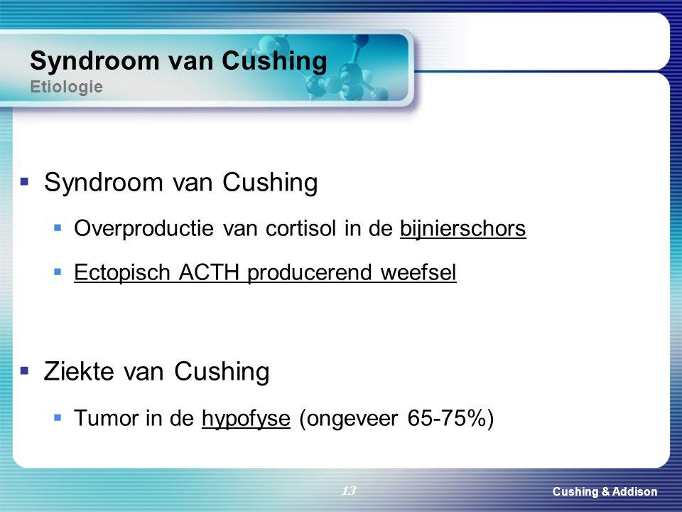 Cushing & Addison 13  Syndroom van Cushing  Overproductie van cortisol in de bijnierschors  Ectopisch ACTH producerend weefsel  Ziekte van Cushing