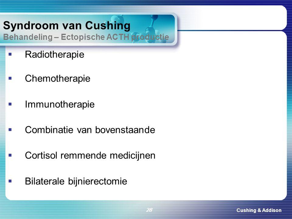 Cushing & Addison 28 Syndroom van Cushing Behandeling – Ectopische ACTH productie  Radiotherapie  Chemotherapie  Immunotherapie  Combinatie van bo