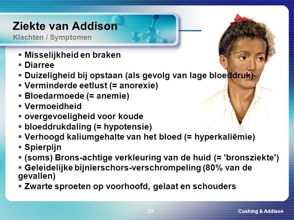 Cushing & Addison 35 Ziekte van Addison Klachten / Symptomen  Misselijkheid en braken  Diarree  Duizeligheid bij opstaan (als gevolg van lage bloed