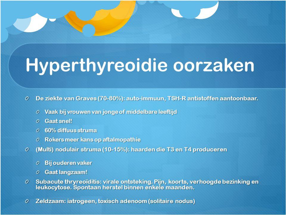 Hyperthyreoidie oorzaken De ziekte van Graves (70-80%): auto-immuun, TSH-R antistoffen aantoonbaar. Vaak bij vrouwen van jonge of middelbare leeftijd
