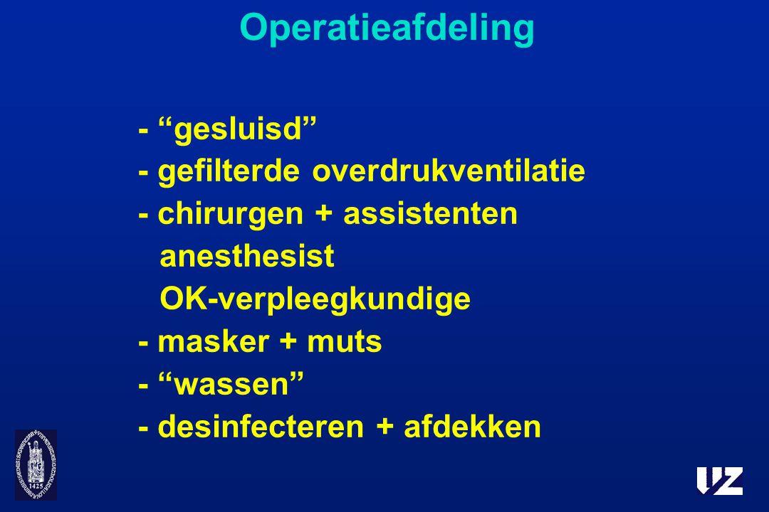 """Operatieafdeling - """"gesluisd"""" - gefilterde overdrukventilatie - chirurgen + assistenten anesthesist OK-verpleegkundige - masker + muts - """"wassen"""" - de"""