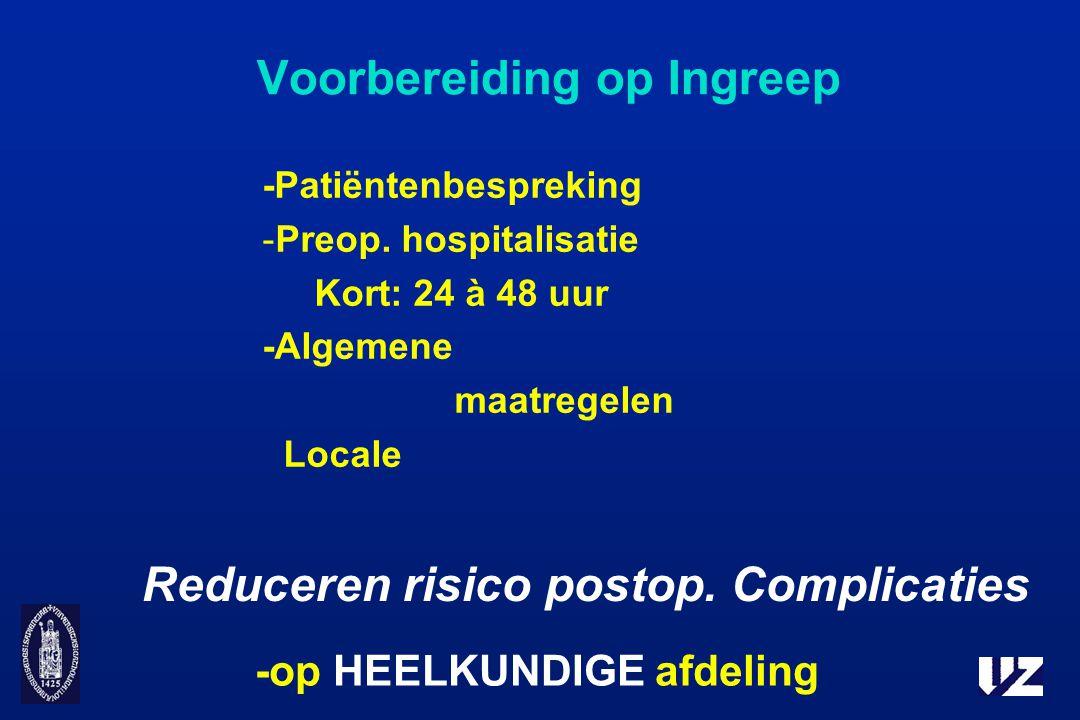 Voorbereiding op Ingreep -Patiëntenbespreking -Preop. hospitalisatie Kort: 24 à 48 uur -Algemene maatregelen Locale -op HEELKUNDIGE afdeling Reduceren