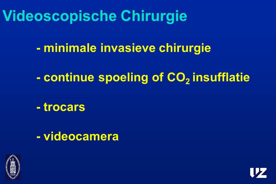 - minimale invasieve chirurgie - continue spoeling of CO 2 insufflatie - trocars - videocamera Videoscopische Chirurgie