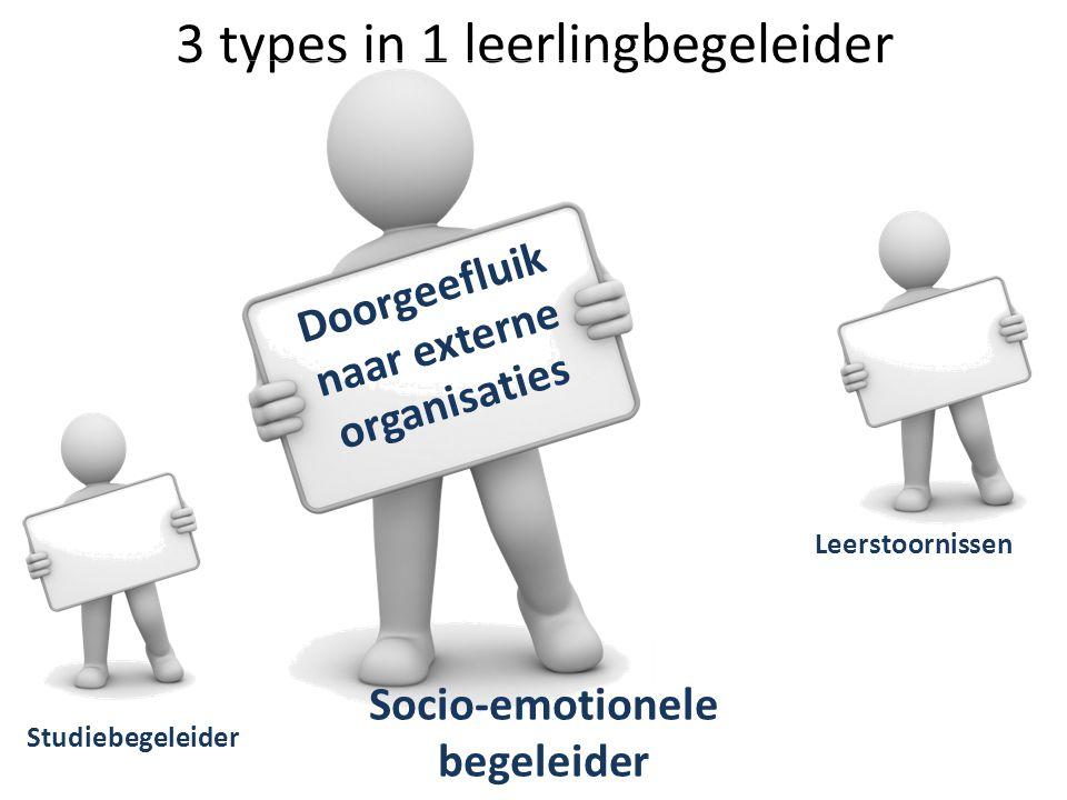 3 types in 1 leerlingbegeleider Studiebegeleider Leerstoornissen Socio-emotionele begeleider Doorgeefluik naar externe organisaties