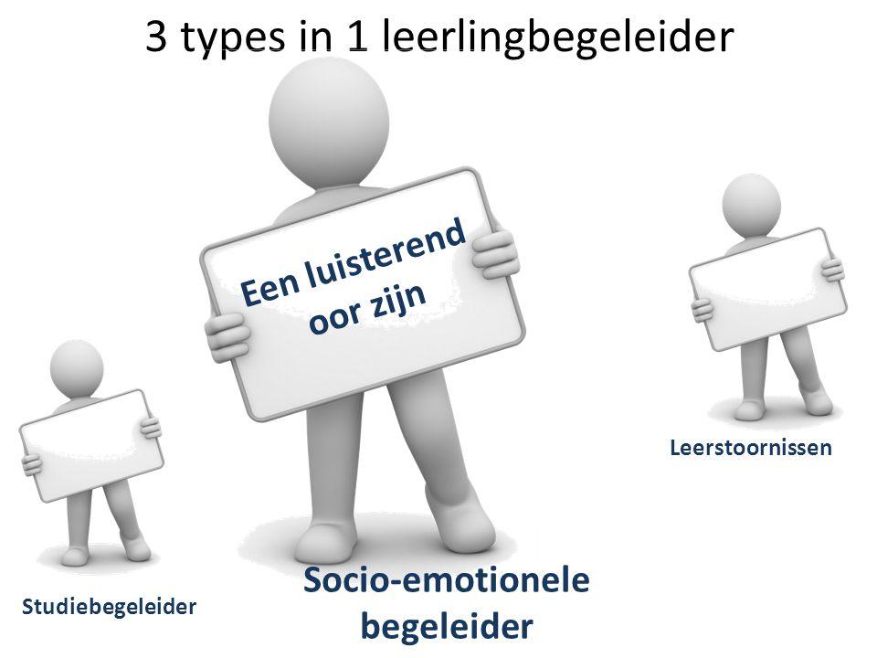 3 types in 1 leerlingbegeleider Studiebegeleider Leerstoornissen Socio-emotionele begeleider Een luisterend oor zijn