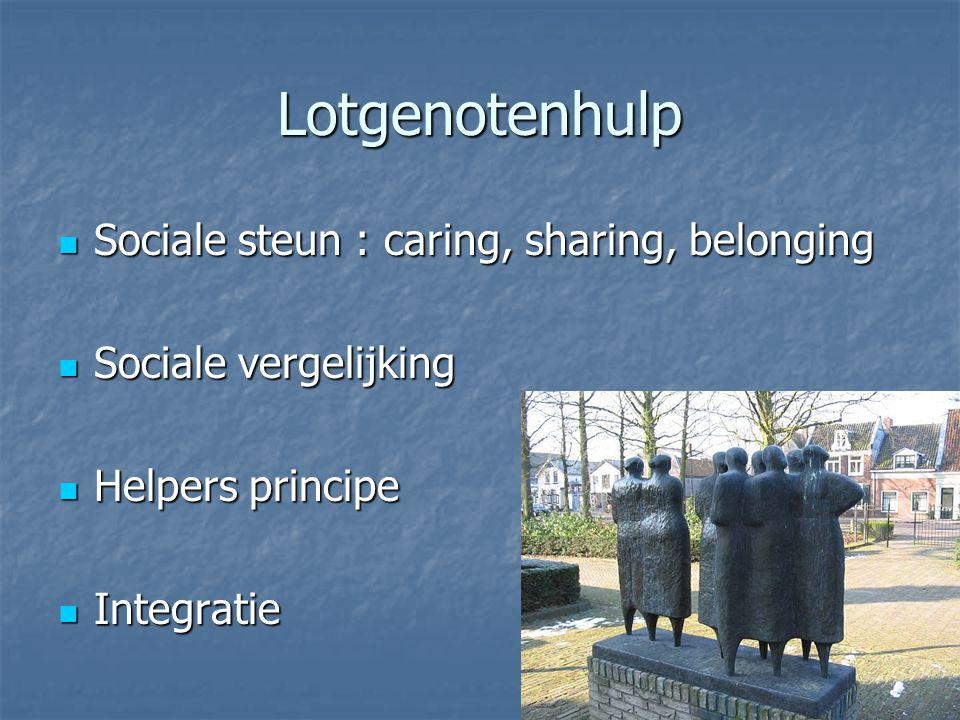 Lotgenotenhulp Sociale steun : caring, sharing, belonging Sociale steun : caring, sharing, belonging Sociale vergelijking Sociale vergelijking Helpers