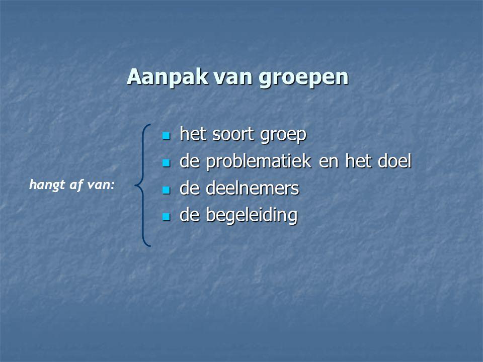 Aanpak van groepen het soort groep het soort groep de problematiek en het doel de problematiek en het doel de deelnemers de deelnemers de begeleiding