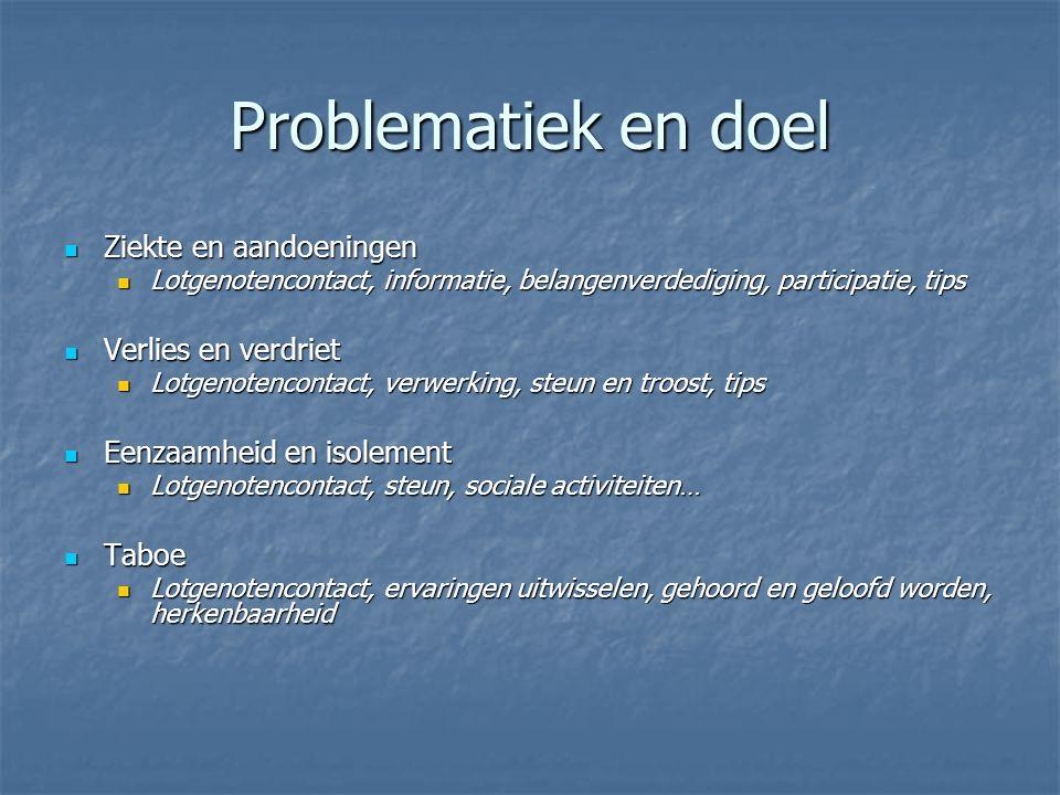 Problematiek en doel Ziekte en aandoeningen Ziekte en aandoeningen Lotgenotencontact, informatie, belangenverdediging, participatie, tips Lotgenotenco