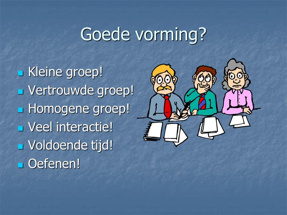 Goede vorming? Kleine groep! Kleine groep! Vertrouwde groep! Vertrouwde groep! Homogene groep! Homogene groep! Veel interactie! Veel interactie! Voldo