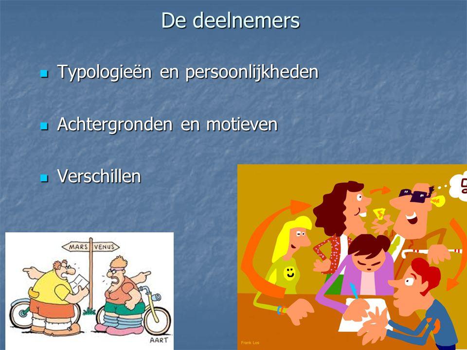 De deelnemers Typologieën en persoonlijkheden Typologieën en persoonlijkheden Achtergronden en motieven Achtergronden en motieven Verschillen Verschil