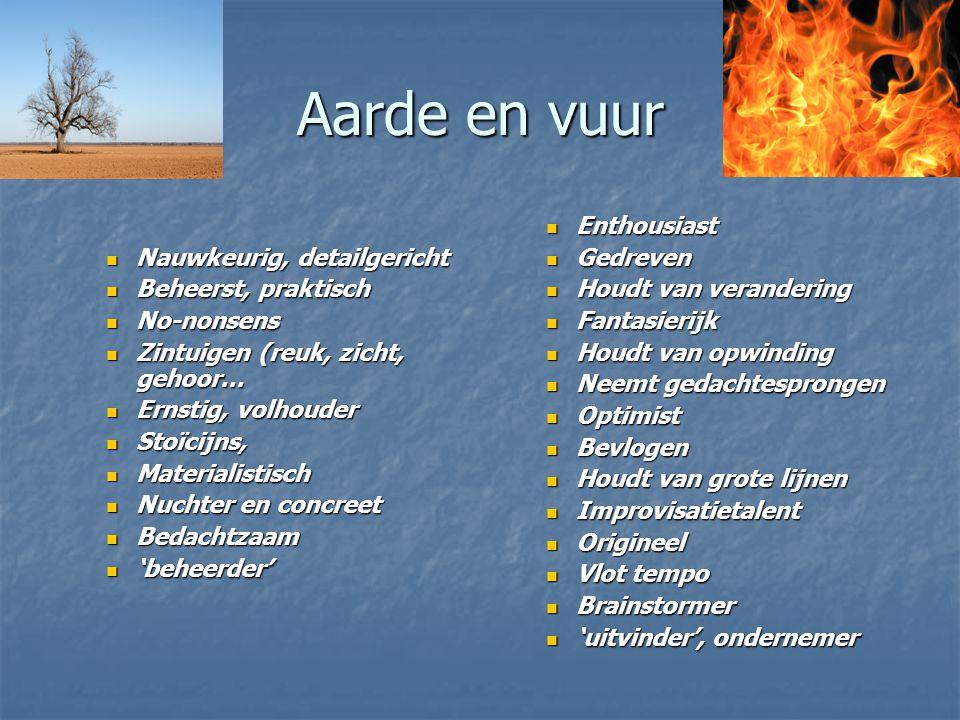 Aarde en vuur Nauwkeurig, detailgericht Nauwkeurig, detailgericht Beheerst, praktisch Beheerst, praktisch No-nonsens No-nonsens Zintuigen (reuk, zicht