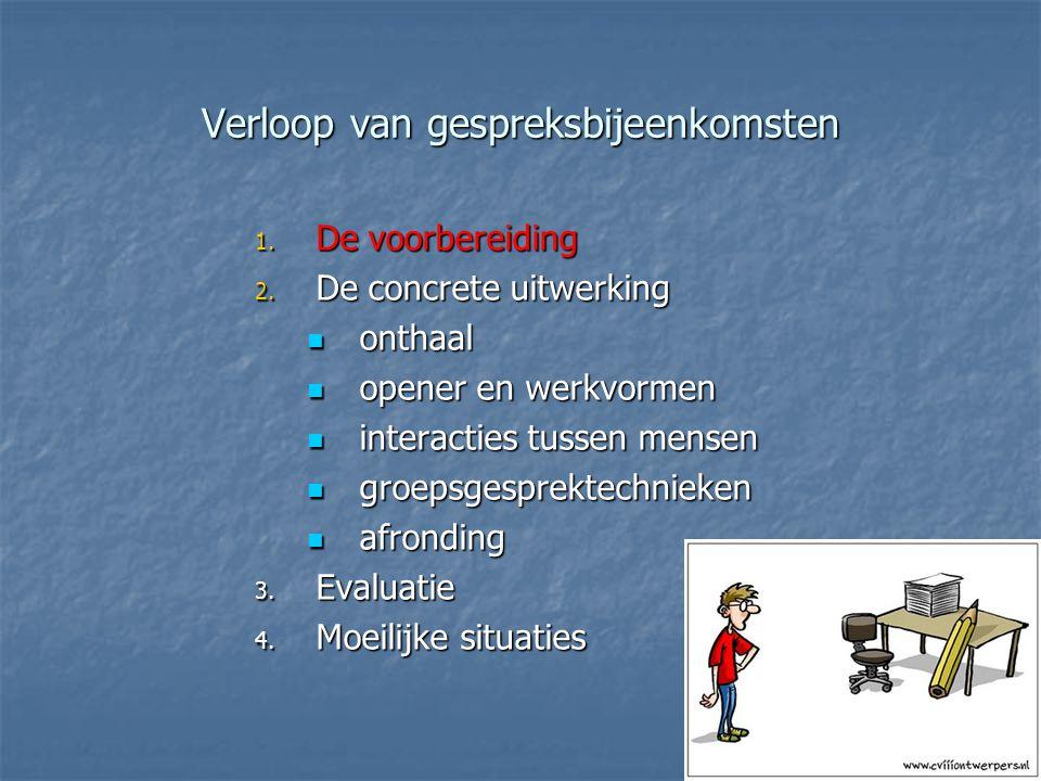 Verloop van gespreksbijeenkomsten 1. De voorbereiding 2. De concrete uitwerking onthaal onthaal opener en werkvormen opener en werkvormen interacties