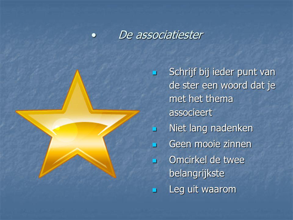 De associatiesterDe associatiester Schrijf bij ieder punt van de ster een woord dat je met het thema associeert Schrijf bij ieder punt van de ster een