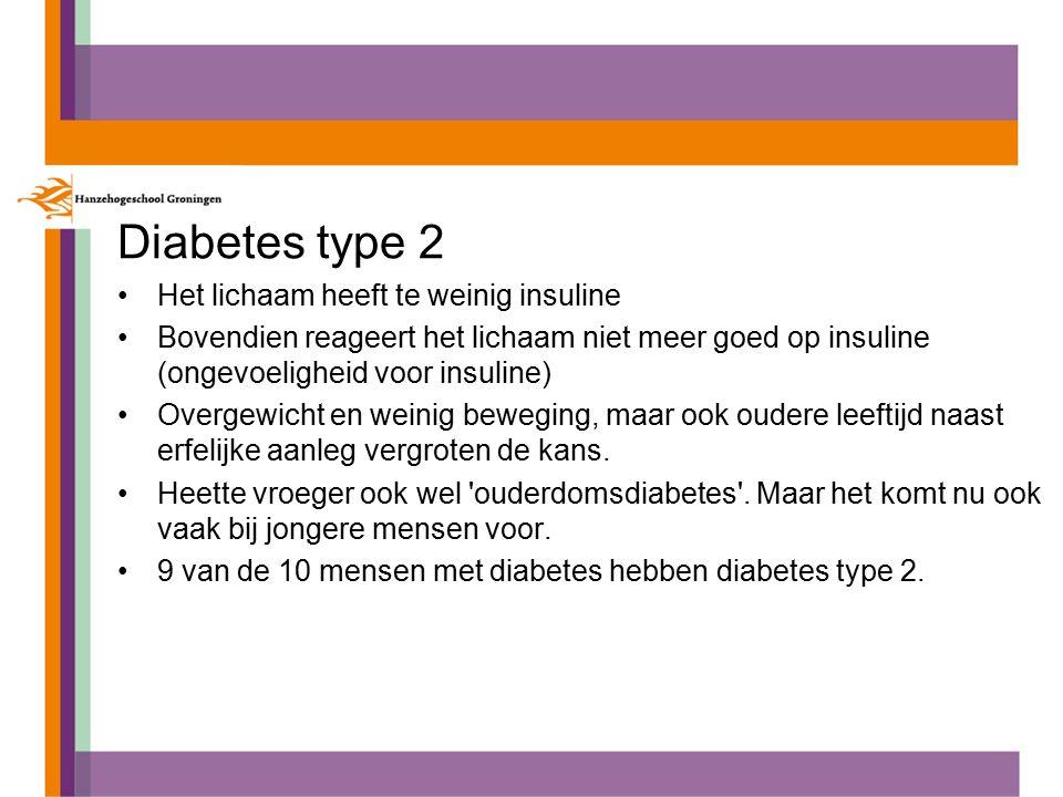 Diabetes type 2 Het lichaam heeft te weinig insuline Bovendien reageert het lichaam niet meer goed op insuline (ongevoeligheid voor insuline) Overgewicht en weinig beweging, maar ook oudere leeftijd naast erfelijke aanleg vergroten de kans.