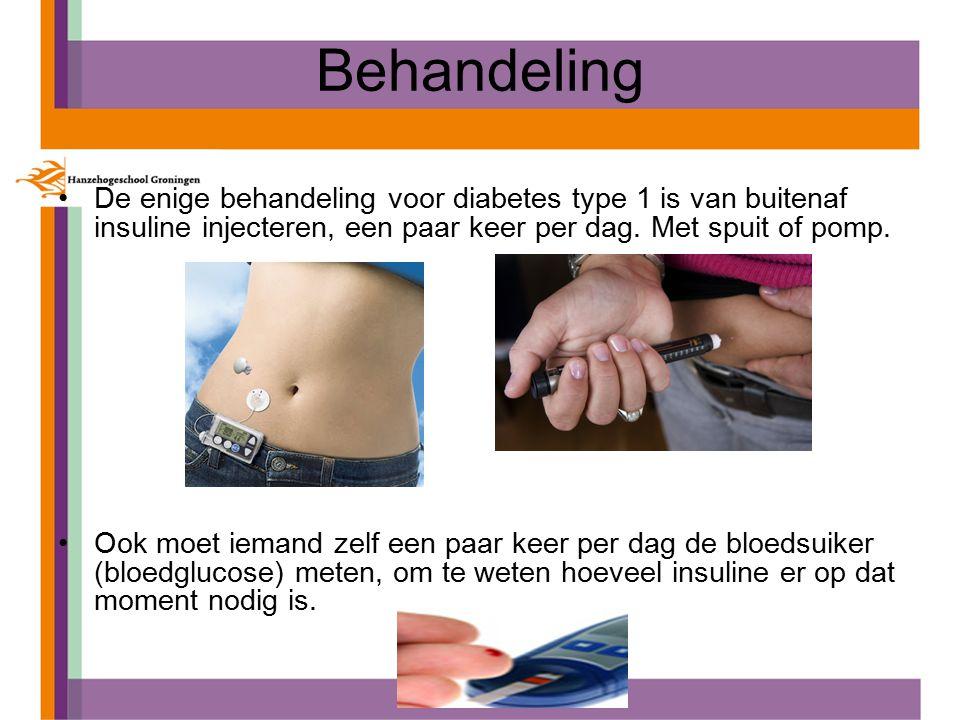 Behandeling De enige behandeling voor diabetes type 1 is van buitenaf insuline injecteren, een paar keer per dag.