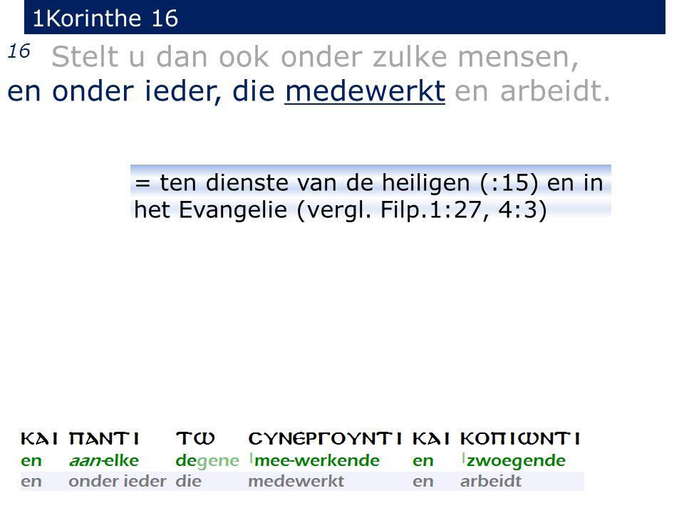 1Korinthe 16 16 Stelt u dan ook onder zulke mensen, en onder ieder, die medewerkt en arbeidt.