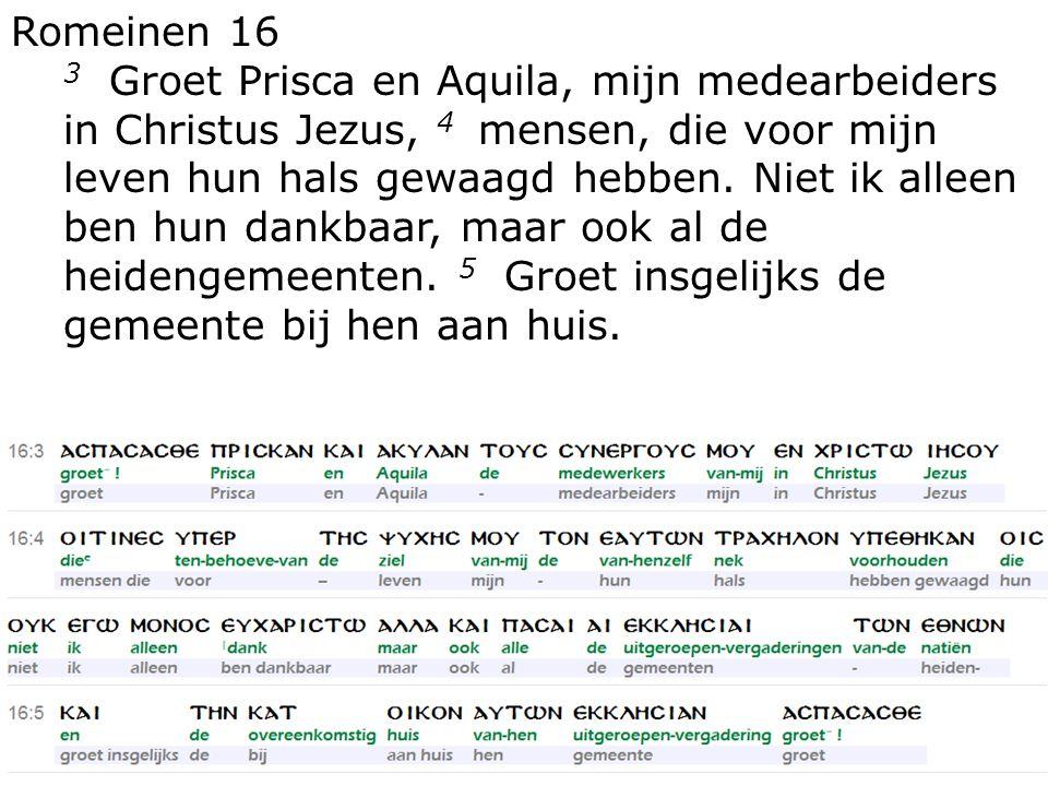 Romeinen 16 3 Groet Prisca en Aquila, mijn medearbeiders in Christus Jezus, 4 mensen, die voor mijn leven hun hals gewaagd hebben.