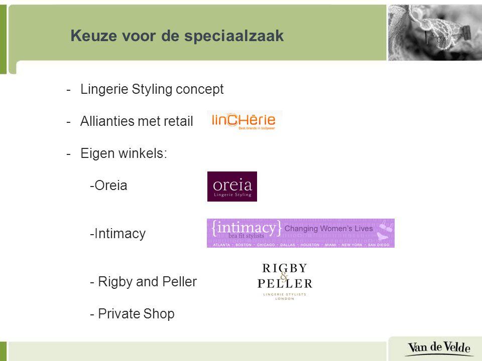 Keuze voor de speciaalzaak -Lingerie Styling concept -Allianties met retail -Eigen winkels: -Oreia -Intimacy - Rigby and Peller - Private Shop