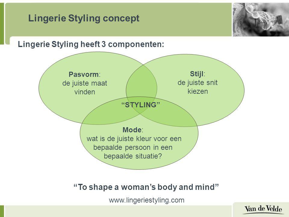Pasvorm: de juiste maat vinden Stijl: de juiste snit kiezen Mode: wat is de juiste kleur voor een bepaalde persoon in een bepaalde situatie.