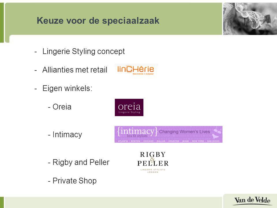Keuze voor de speciaalzaak -Lingerie Styling concept -Allianties met retail -Eigen winkels: - Oreia - Intimacy - Rigby and Peller - Private Shop