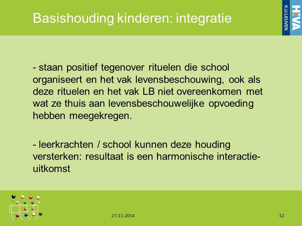 Basishouding kinderen: integratie - staan positief tegenover rituelen die school organiseert en het vak levensbeschouwing, ook als deze rituelen en he