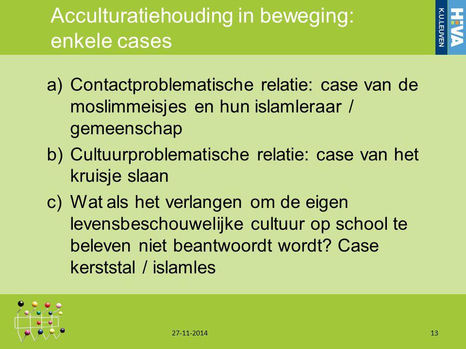 Acculturatiehouding in beweging: enkele cases a)Contactproblematische relatie: case van de moslimmeisjes en hun islamleraar / gemeenschap b)Cultuurpro