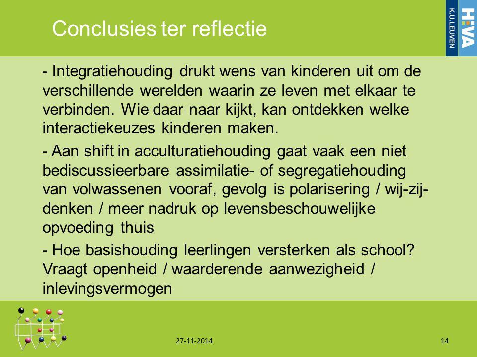 Conclusies ter reflectie - Integratiehouding drukt wens van kinderen uit om de verschillende werelden waarin ze leven met elkaar te verbinden. Wie daa