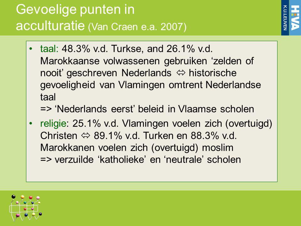 Gevoelige punten in acculturatie (Van Craen e.a. 2007) taal: 48.3% v.d. Turkse, and 26.1% v.d. Marokkaanse volwassenen gebruiken 'zelden of nooit' ges